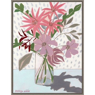 "18"" x 24"" Summer Flowers by Marisa Anon Framed Canvas Wall Art - Amanti Art"