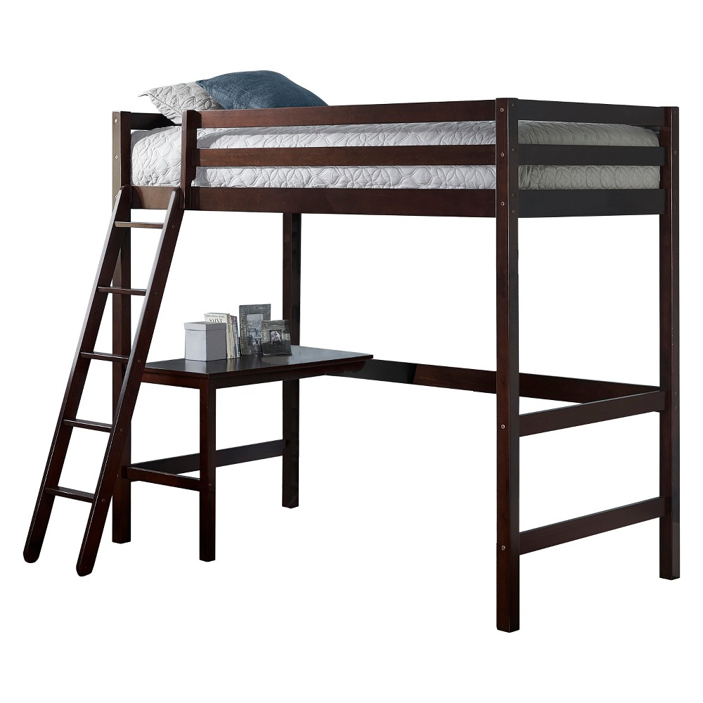 Twin Caspian Study Loft Chocolate (Brown) - Hillsdale Furniture