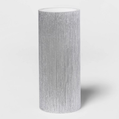 "7""x 3"" LED Unscented Metallic Silver Pillar Candle - Threshold™"