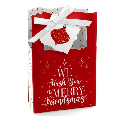 Big Dot of Happiness Red and Gold Friendsmas - Friends Christmas Party Favor Boxes Gift Bags - Set of 12