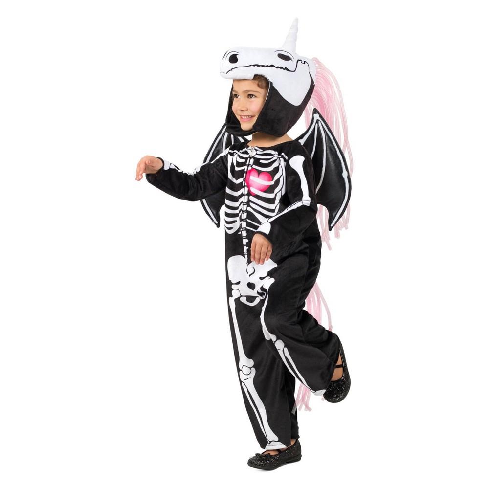 Girls' Skelly-Corn Halloween Costume M, Black