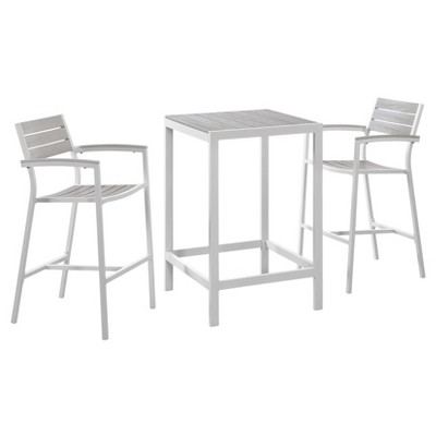 Maine 3pc Square Wood Patio Dining Set - Modway
