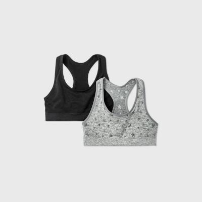 Girls' 2pk Jacquard Stars Pattern Sports Bra - Cat & Jack™ Gray/Black