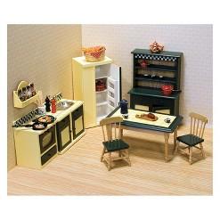 Melissa & Doug Classic Wooden Dollhouse Kitchen Furniture (7pc) - Buttery Yellow/Deep Green