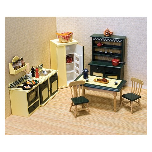 Melissa Doug Classic Wooden Dollhouse Kitchen Furniture 7pc Ery Yellow Deep Green