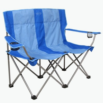 Kamp-Rite KAMPCC356 Outdoor Camping Furniture Beach Patio Sports 2 Person Double Folding Lawn Chair with Cup Holders, Blue