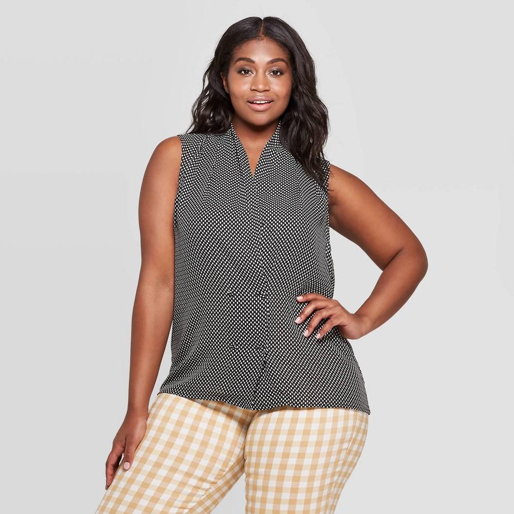 Women's Plus Size Polka Dot Sleeveless V-Neck Tuxedo Blouse - Who What Wear Black 4X
