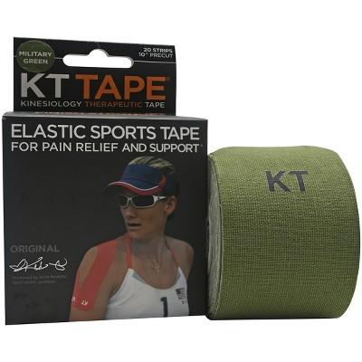 "KT Tape x Forza Sports Cotton 10"" Precut Sports Tape, 20 Strips, Military Green"