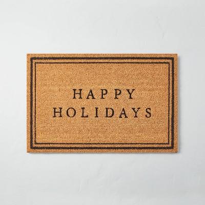 Happy Holidays Bordered Coir Doormat Tan/Black - Hearth & Hand™ with Magnolia