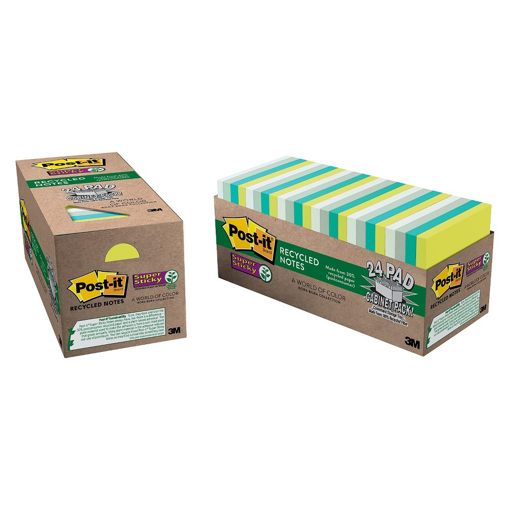 Post-it Notes Super Sticky Super Sticky Pads Cabinet Pack, 3x3, Five Tropic Breeze Colors, 24, Yellow