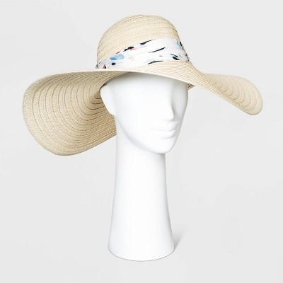 Women's Print Band Floppy  Hats - A New Day™ Natural One Size