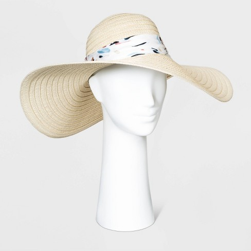 Women's Print Band Floppy  Hats - A New Day™ Natural One Size - image 1 of 1