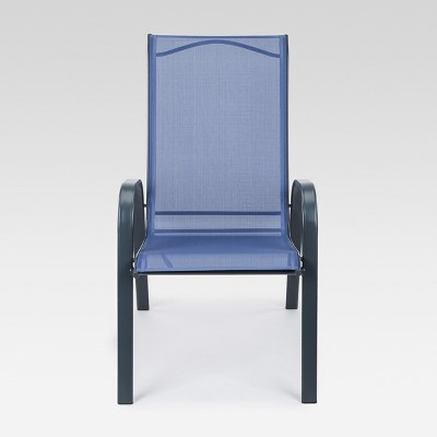 stacking sling patio dining chair dark blue target rh target com Target Stackable Sling Patio Chairs stackable sling back patio chairs