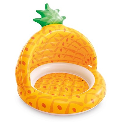 Intex 58414EP 40 Inch Pineapple Design Outdoor 1 to 3 Years Old Baby Toddler Inflatable Swimming Pool with Soft Floor Bottom and Built In Sunshade