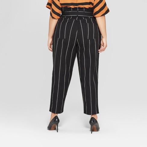 e691d4b049e Women s Plus Size Mid-Rise Striped Paperbag Pants - Who What Wear™ Black