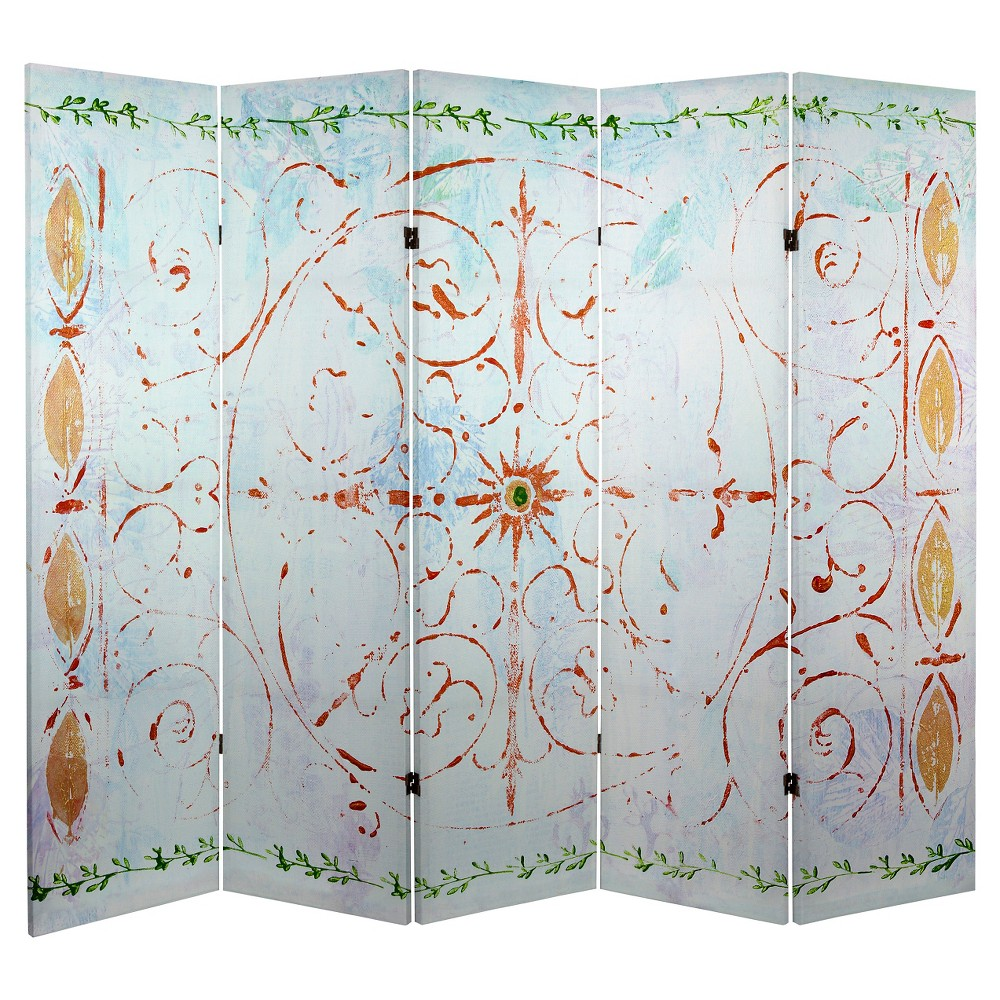 5 ft. Tall Winter's Peace Canvas Room Divider - Oriental Furniture, White