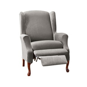 Stretch Pique Wing Recliner Flannel Gray - Sure Fit