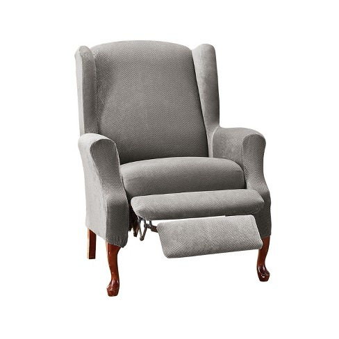 Stretch Pique Wing Recliner Slipcover, Grey Wingback Chair Slipcover