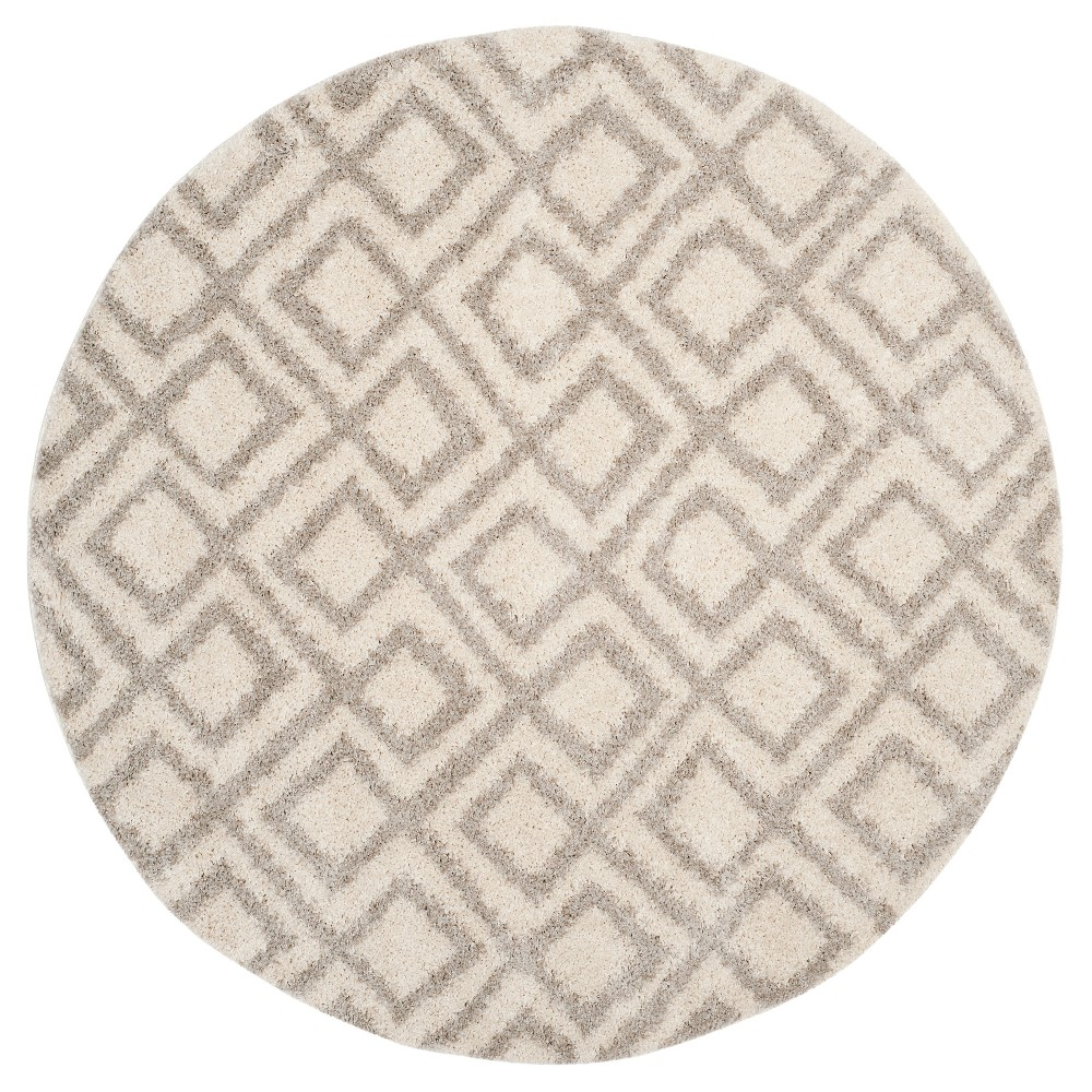 Ivory/Beige Abstract Loomed Round Area Rug - (6'7 Round) - Safavieh, White