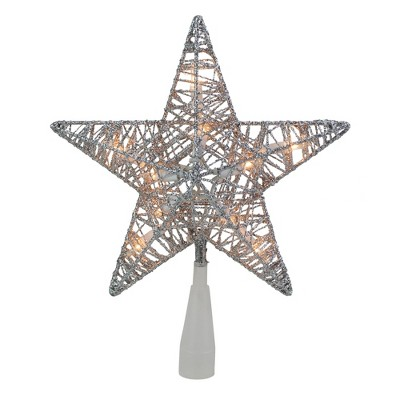 "Northlight 9.5"" Lighted Silver Star Christmas Tree Topper - Clear Lights"