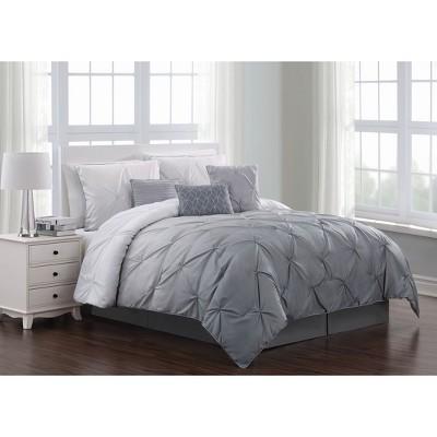 Queen 7pc Bergen Pintuck Comforter Set Gray - Addison Home