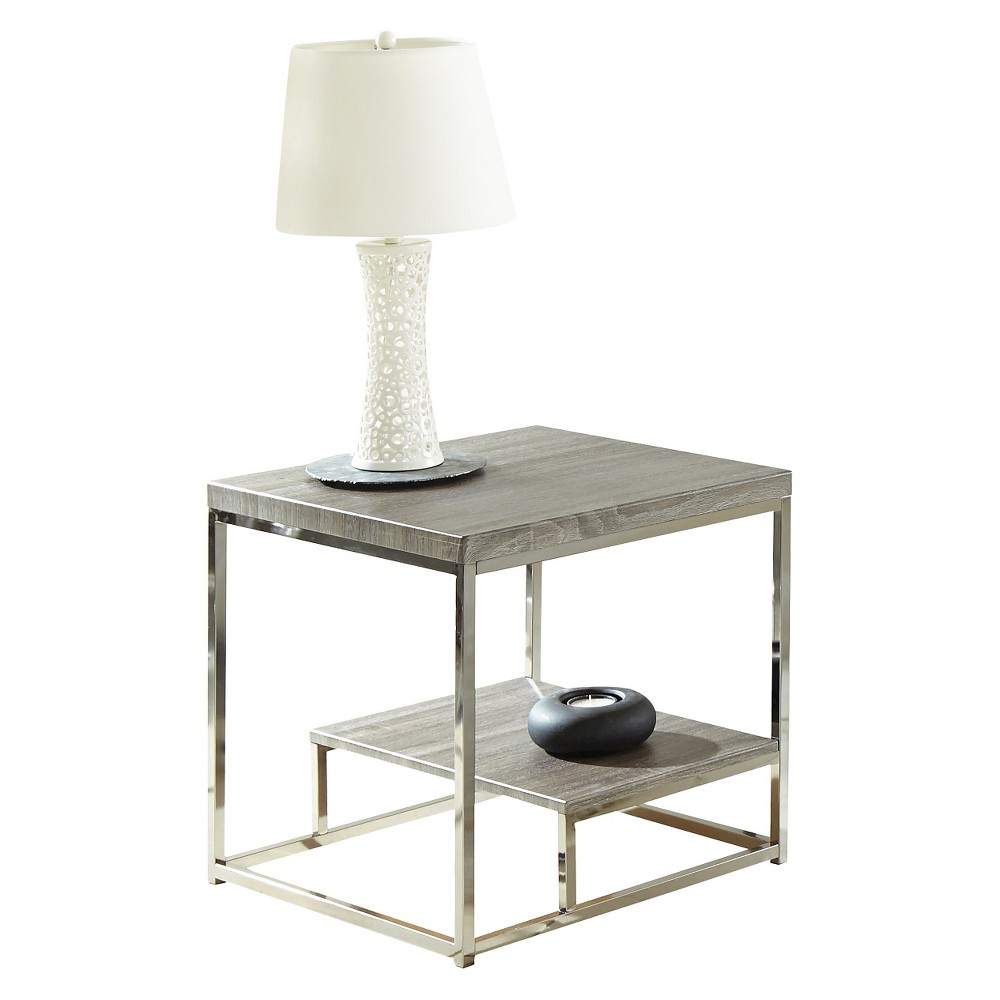 Lucia End Table with Nickel Gray - Steve Silver