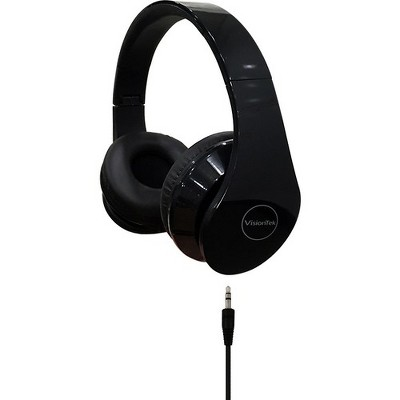 VisionTek Folding Stereo Headphones with Detachable Cable -BLACK - Stereo - Black - Mini-phone - Wired - 32 Ohm - 20 Hz 20 kHz - Over-the-head