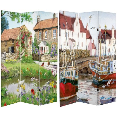 """6"""" Double Sided Country Village Canvas Room Divider - Oriental Furniture"""