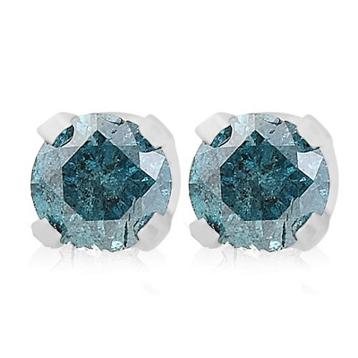 Pompeii3 1/4ct Blue Diamond Studs 14K White Gold