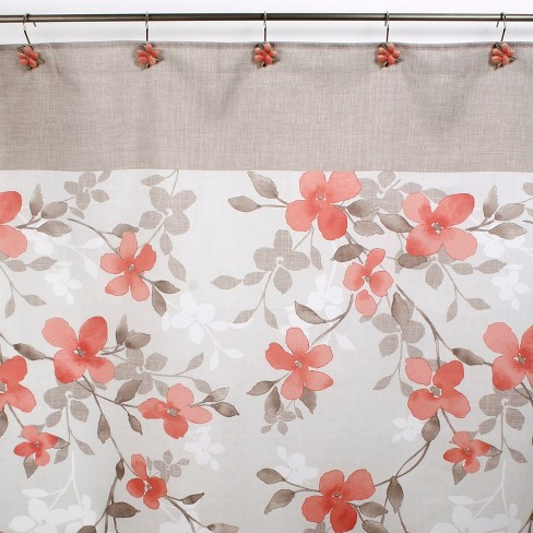 Coral Garden Floral Shower Curtain