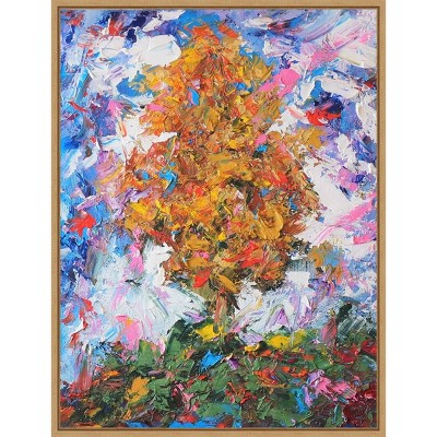 "18"" x 24"" Tree II by Joseph Marshal Foster Framed Canvas Wall Art Orange - Amanti Art"