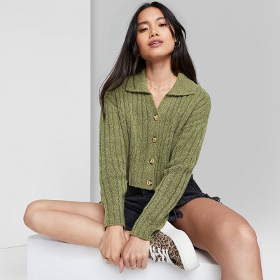 Women's Button-Front Ribbed Cropped Cardigan - Wild Fable™