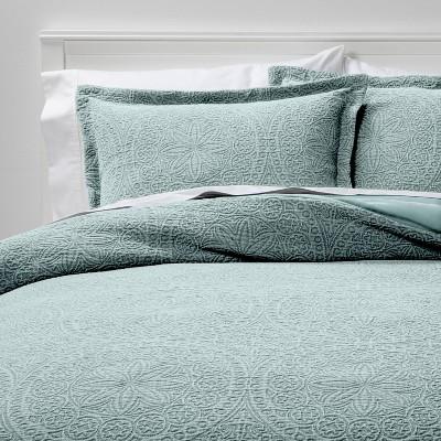 King Matelasse Medallion Comforter & Sham Set Washed Mint - Threshold™