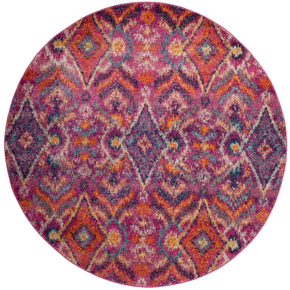 6'7 Shapes Loomed Round Area Rug Fuchsia - Safavieh, Pink