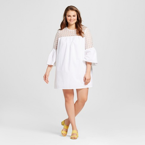 10a6fb741d3 Women s Plus Size Eyelet Mini Dress - Who What Wear™ White 2X   Target