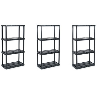 Gracious Living 91089-1C 24 x 12 x 33 Inch Knect A Shelf Fixed Height Light Duty Interlocking Home Storage 4 Shelf Shelving Unit, Black (3 Pack)