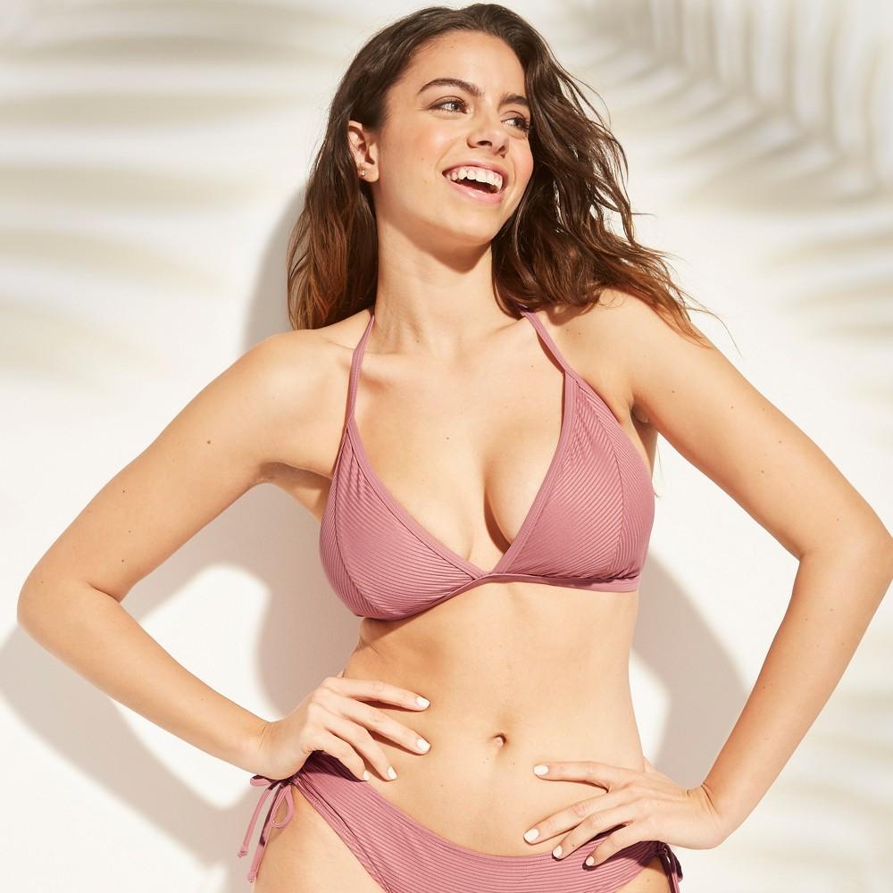 Women's Ribbed Triangle Bikini Top - Kona Sol Plum Rose L