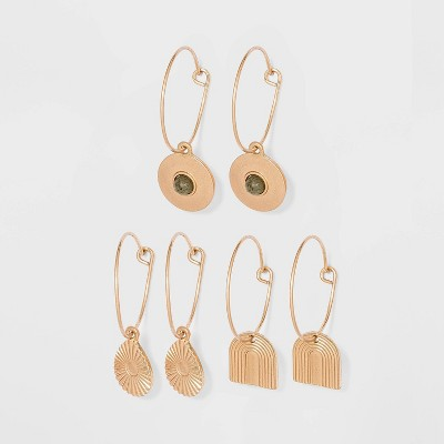 Geometric Semi-Precious with Labradorite Charm Hoop Earring Set 3pc - Universal Thread™ Worn Gold