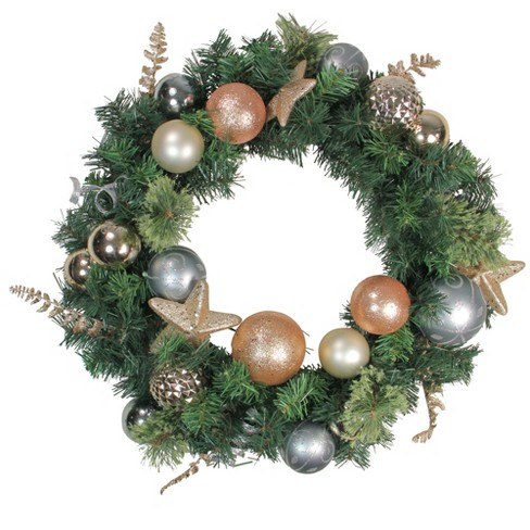 Northlight 24 Unlit Rose Gold Silver Ball Ornaments Pine Artificial Christmas Wreath