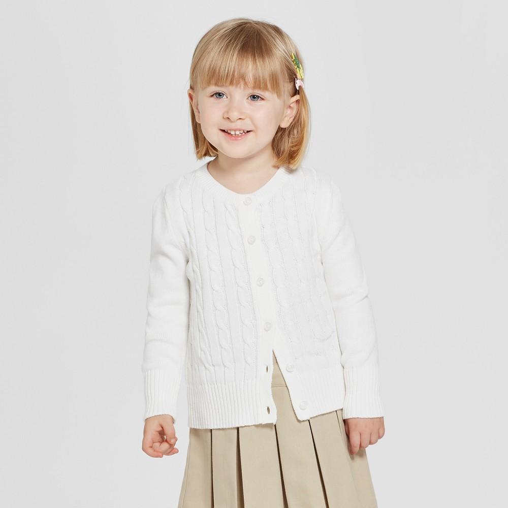 Toddler Girls' Crew Neck Cable Knit Uniform Cardigan - Cat & Jack White 4T