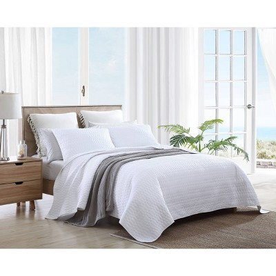 Full/Queen Bali Quilt & Sham Set Solid White - Tommy Bahama