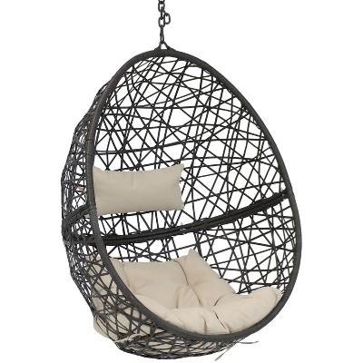 Caroline Resin Wicker Hanging Egg Chair with Beige Cushions - Sunnydaze Decor