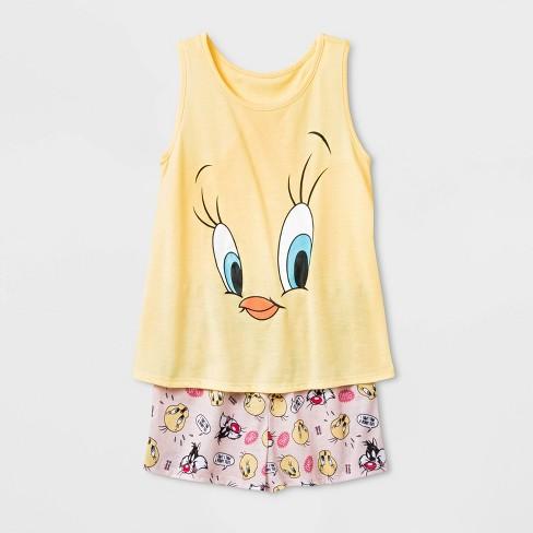 Girls' Tweety Bird 2pc Pajama Set - Yellow  - image 1 of 1