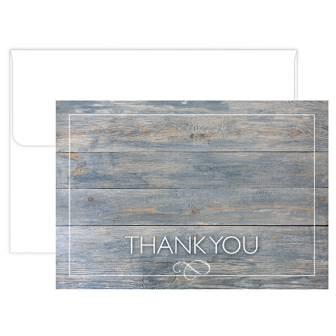 50ct Gray Driftwood Thank Card Pack - image 1 of 3