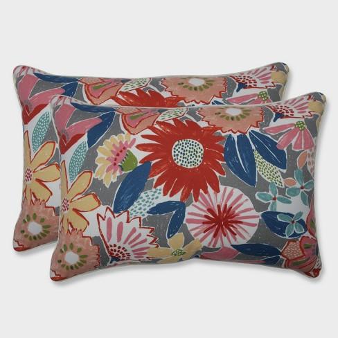 2pk Oversize Catching Rays Poppy Rectangular Throw Pillows Gray - Pillow Perfect - image 1 of 1