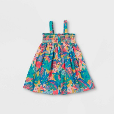 Toddler Girls' Floral Button-Front Smocked Tank Dress - Cat & Jack™