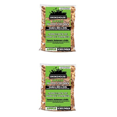 Smokehouse All Natural Flavored Apple Wood Chunks for Outdoor Grilling, Smoking and Barbequing Pork, Beef, and Poultry, 1.75 Pound Bag (2 Pack)