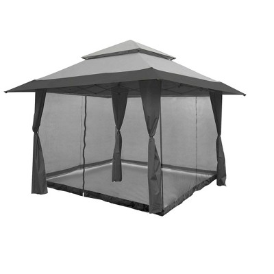 Z-Shade 13 x 13 Foot Instant Gazebo Canopy Outdoor Shelter with Bug Screen, Gray