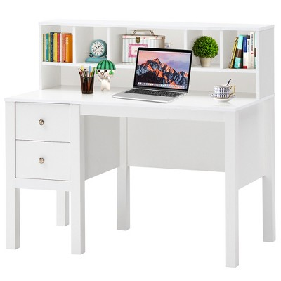 Costway Computer Desk Home Office Workstation Laptop Table w/ Hutch & Drawers