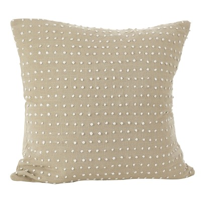 Light Brown Leilani French Knot Design Throw Pillow (20 )- Saro Lifestyle®